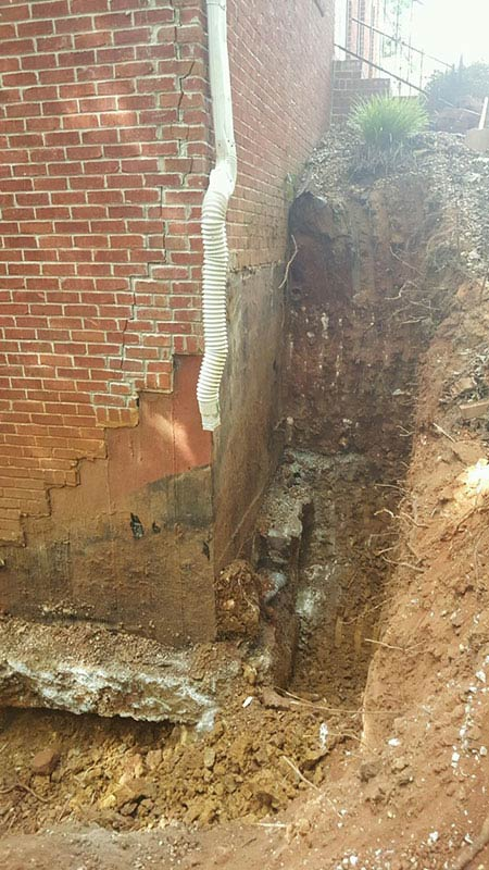 EFFLORESCENCE and mold on exterior of foundation that needs repaired