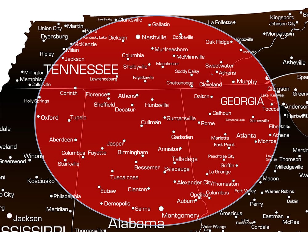 Service Area Map in Alabama and Tennessee